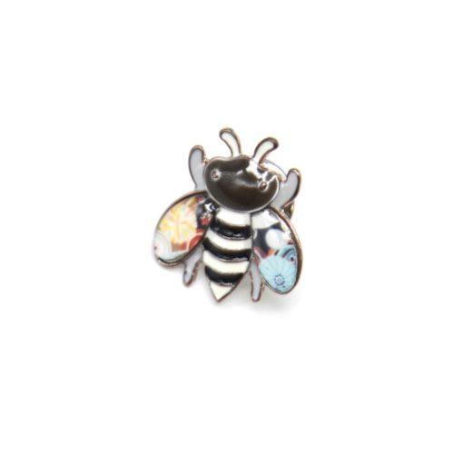 Mini-Broche-Pins-Abeille-Metal-Peint-Noir-avec-Rayures-et-Metal-Argente