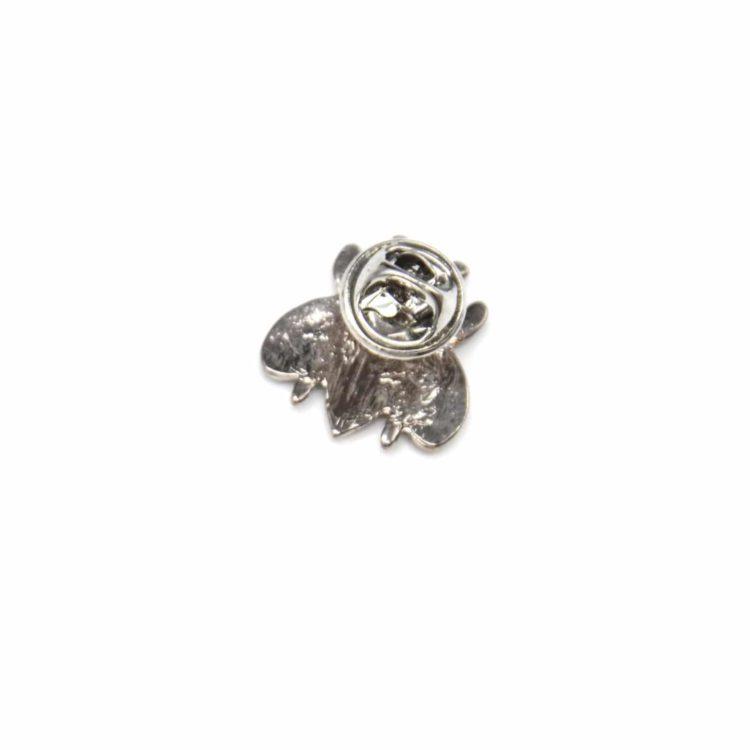 Mini-Broche-Pins-Abeille-Metal-Peint-Noir-Motif-Paisley-avec-Rayures-et-Metal-Argente