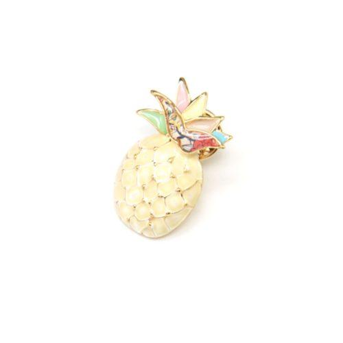Mini-Broche-Pins-Ananas-Metal-Peint-Ivoire-avec-Feuilles-Multicolore-et-Metal-Dore