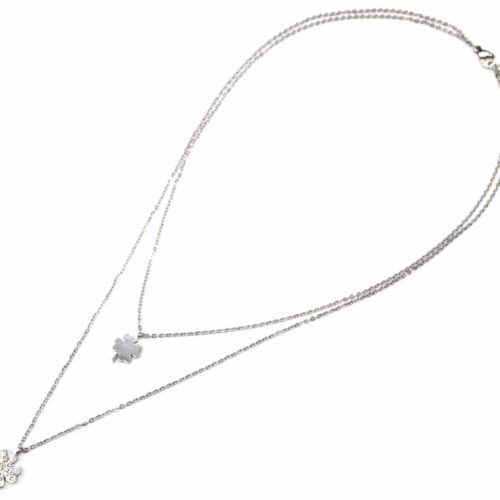Collier-Double-Chaine-Pendentif-Trefles-Acier-Argente-et-Strass