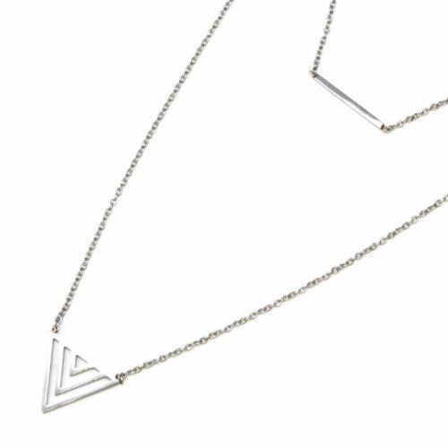Collier-Double-Chaine-avec-Pendentifs-Barre-et-Triangle-Ajoure-Acier-Argente