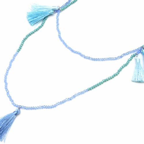 Sautoir-Collier-Double-Tour-Perles-Brillantes-et-Pierres-avec-Charms-Pompons-Fils-Bleu