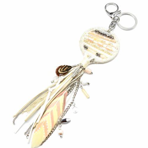 Porte-Cles-Bijou-de-Sac-Attrape-Reves-Dreamcatcher-Contour-Brillant-avec-Perles-Franges-Feutrine-et-Plumes-Ethnique-Ecru