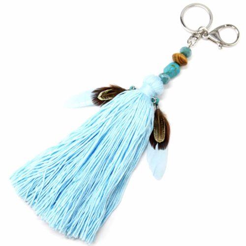 Porte-Cles-Bijou-de-Sac-Pompon-Fils-Bleu-avec-Pierres-Perles-et-Plumes-Ethnique