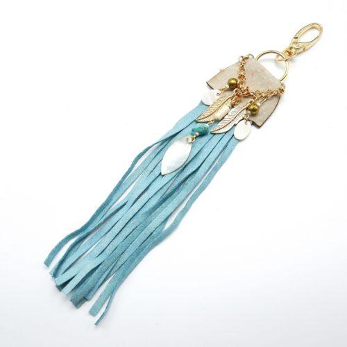 Porte-Cles-Bijou-de-Sac-Franges-Ethnique-Indien-Bleu-avec-Chaine-de-Charms