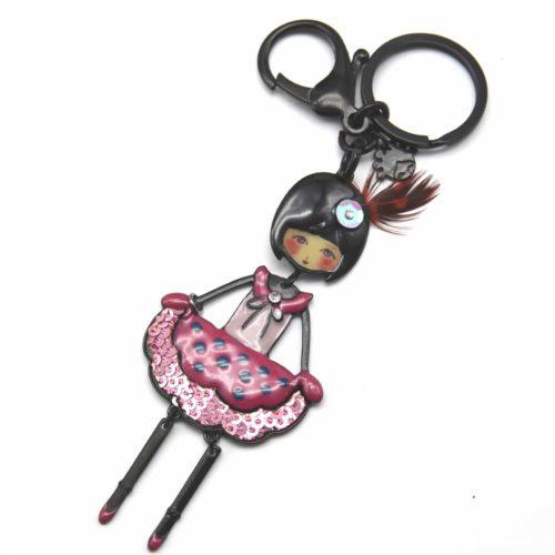Porte-Cles-Bijou-de-Sac-Poupee-Fille-Articulee-avec-Robe-Pois-et-Sequins-Rose