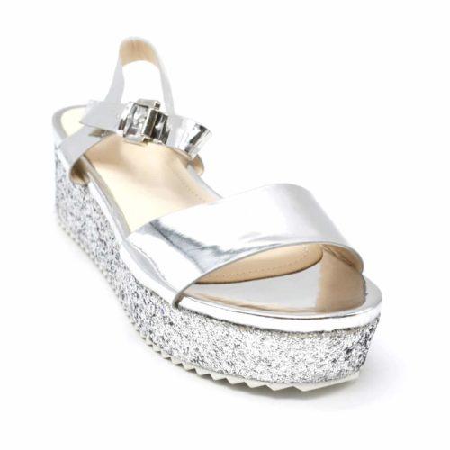 Sandales-a-Talon-Plateforme-Compensee-Paillettes-avec-Brides-Effet-Metallise-Argente