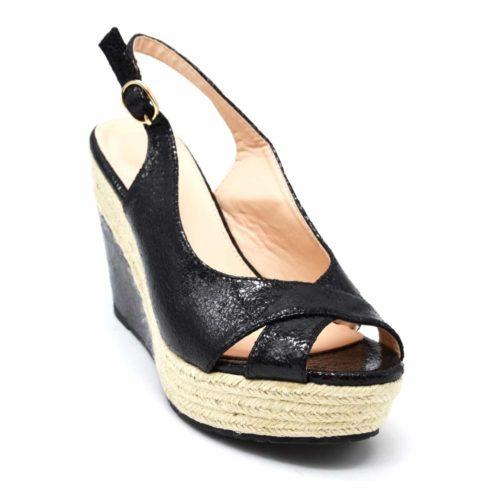 Sandales-Espadrilles-Plateforme-Compensee-Tressee-avec-Brides-Croisees-Effet-Graine-Noir