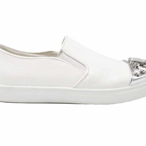 Baskets-Slip-On-Sneakers-Simili-Cuir-avec-Bout-Metallise-Argente-et-Multi-Pierres-Blanc