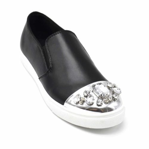 Baskets-Slip-On-Sneakers-Simili-Cuir-avec-Bout-Metallise-Argente-et-Multi-Pierres-Noir