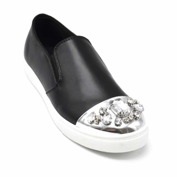 Baskets-Slip-On-Sneakers-Simili-Cuir-avec-Bout-Metallise-Argente-et-Multi-Pierres-Noir