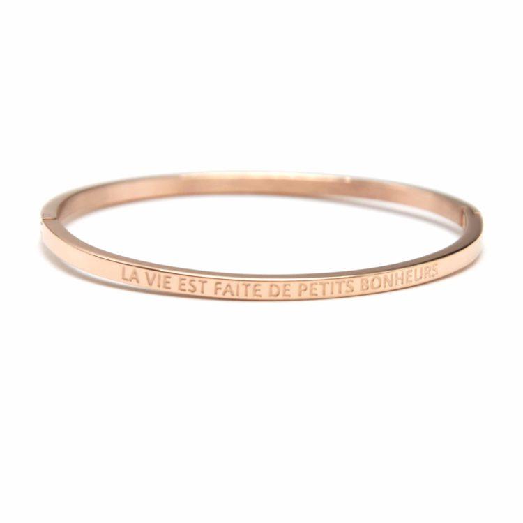 Bracelet-Jonc-Fin-Acier-Or-Rose-avec-Message-La-Vie-Est-Faite-De-Petits-Bonheurs