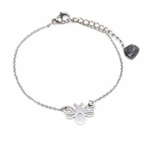 Bracelet-Fine-Chaine-avec-Charm-Abeille-Ailes-Ajourees-Acier-Argente
