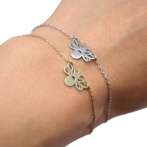 Bracelet-Fine-Chaine-avec-Charm-Abeille-Ailes-Ajourees-Acier