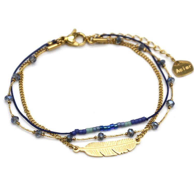 Bracelet-Multi-Rangs-Chaine-Pierres-et-Perles-Noires-avec-Plume-Acier-Bleu-Marine