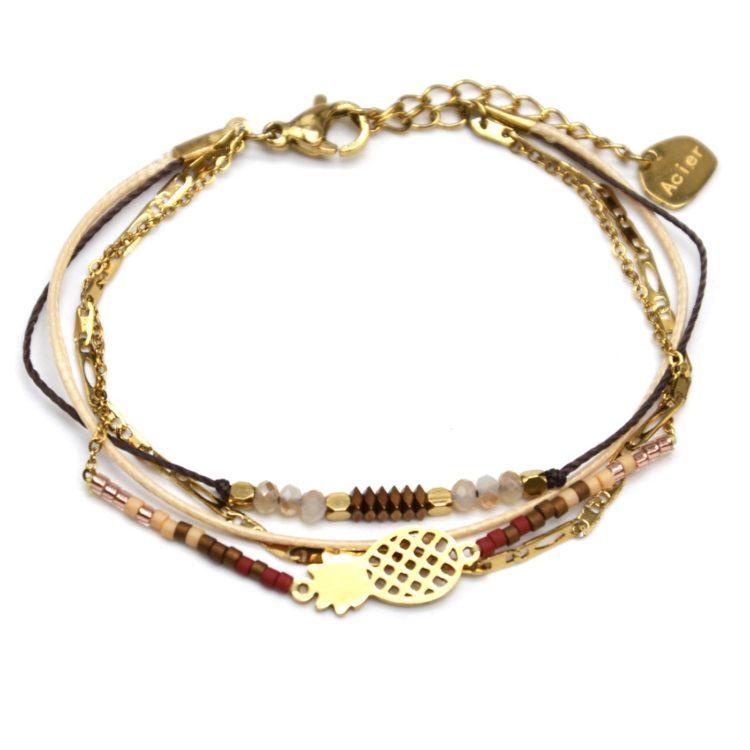 Bracelet-Multi-Rangs-Chaine-Maillons-Pierres-et-Perles-Beiges-avec-Ananas-Acier-Dore