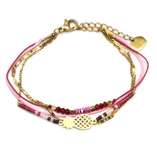 Bracelet-Multi-Rangs-Chaine-Maillons-Pierres-et-Perles-Roses-avec-Ananas-Acier-Dore