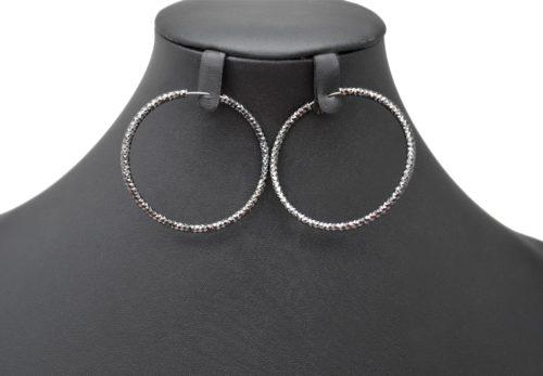 Boucles-dOreilles-Creoles-Gris-avec-Relief-Brillant-Dore-a-l'Or-Fin-Diametre-5cm
