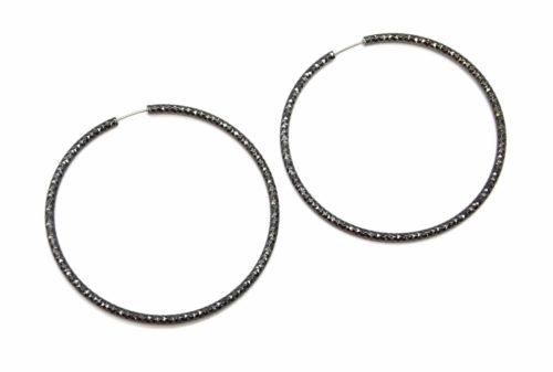 Boucles-dOreilles-Creoles-Gris-avec-Relief-Brillant-Dore-a-l'Or-Fin-Diametre-7cm