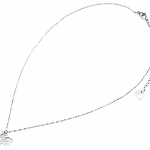Collier-Fine-Chaine-Pendentif-Abeille-Ailes-Ajourees-Acier-Argente