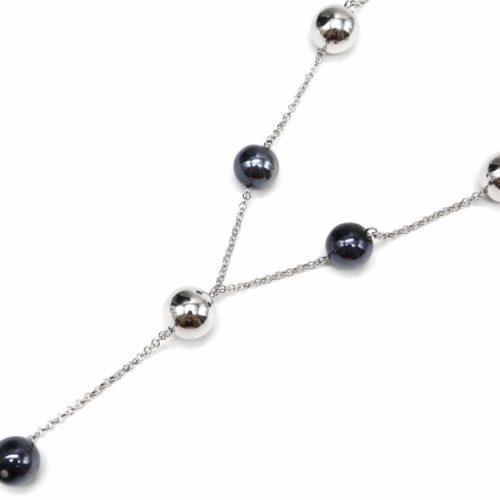 Collier-Fine-Chaine-avec-Boules-Metallisees-ArgenteGris-Bleu