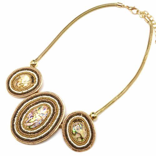 Collier-Plastron-Pendentif-Multi-Ovales-Nacre-Reflets-Perles-Taupe-et-Metal-Dore