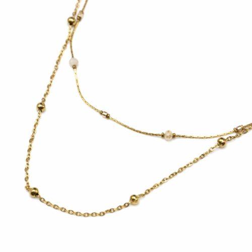 Collier-Double-Chaine-avec-Perles-Beige-et-Mini-Boules-Acier-Dore