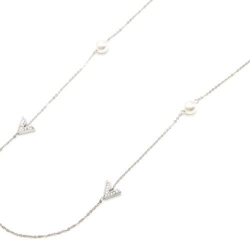 Sautoir-Collier-Fine-Chaine-avec-Chevrons-Strass-Metal-Argente-et-Perles-Blanches