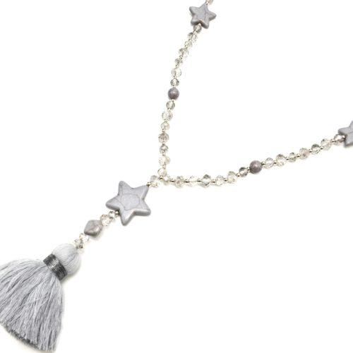 Sautoir-Collier-Perles-Brillantes-avec-Triple-Etoiles-Pierres-Effet-Marbre-et-Pompon-Fils-Gris-Clair
