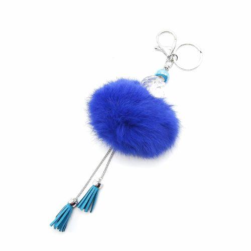 Porte-Cles-Bijou-de-Sac-Boule-Facettes-Gros-Pompon-et-Franges-Bleu