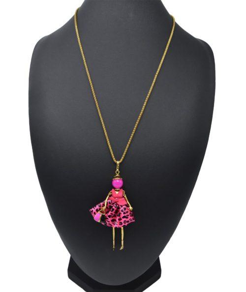 Sautoir-Collier-Pendentif-Poupee-Articulee-Femme-Robe-Tissu-et-Jupe-Satinee-Motif-Leopard-Rose