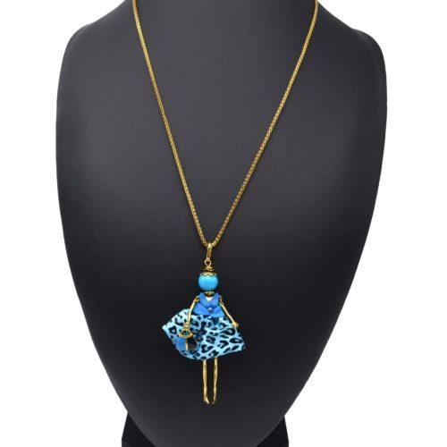 Sautoir-Collier-Pendentif-Poupee-Articulee-Femme-Robe-Tissu-et-Jupe-Satinee-Motif-Leopard-Bleu