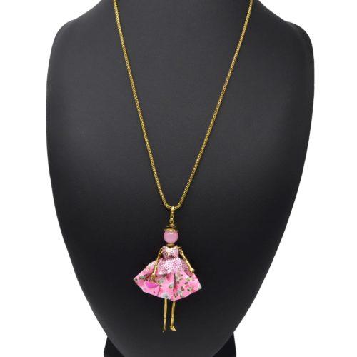 Sautoir-Collier-Pendentif-Poupee-Articulee-Femme-Robe-Sequins-et-Jupe-Tissu-Motif-Fleurs-Rose
