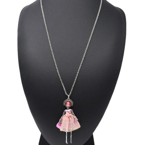 Sautoir-Collier-Pendentif-Poupee-Articulee-Femme-Robe-Sequins-Fleur-et-Jupe-Broderie-Rose-Nude