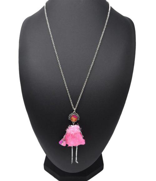 Sautoir-Collier-Pendentif-Poupee-Articulee-Femme-Robe-Fourrure-et-Jupe-Sequins-Fleurs-Rose