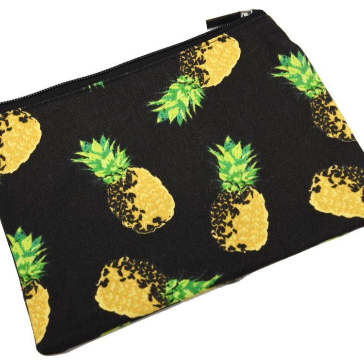 Trousse-Pochette-Toile-avec-Imprime-Ananas-Jaune-Noir