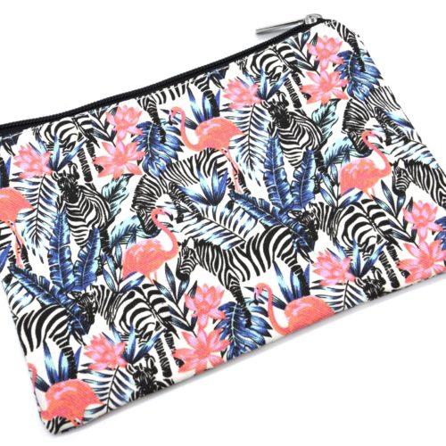 Trousse-a-Maquillage-Pochette-Rangement-Tissu-Imprime-Jungle-Zebre-Flamant-Rose-Multicolore