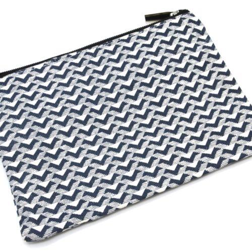 Trousse-a-Maquillage-Pochette-Rangement-Tissu-Imprime-Chevrons-Rayures-Bleu-Marine