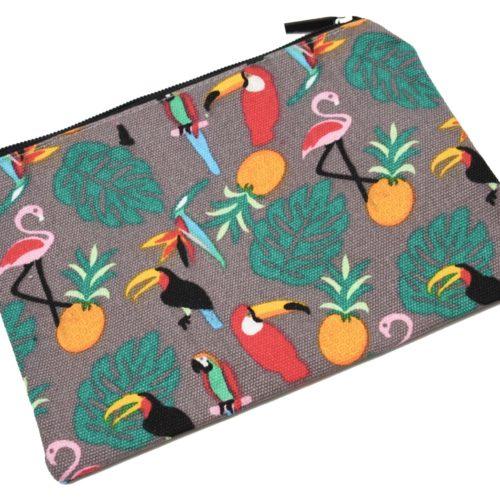 Trousse-Pochette-Toile-avec-Imprime-Tropical-Animaux-Multicolore-Gris