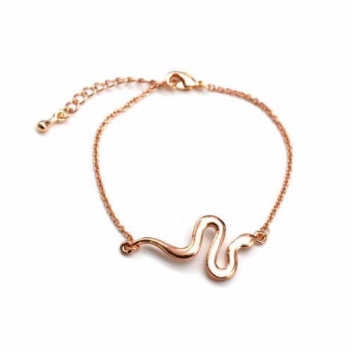 Bracelet-Fine-Chaine-avec-Charm-Serpent-Metal-Or-Rose