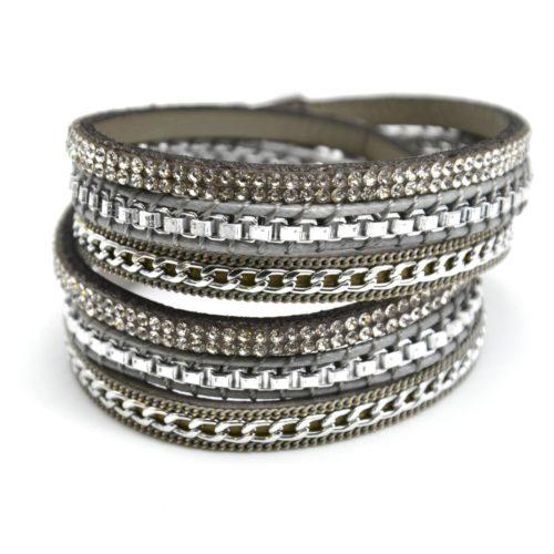 Bracelet-Double-Tour-Multi-Rangs-Feutrine-Gris-avec-Strass-Chaines-Maillons