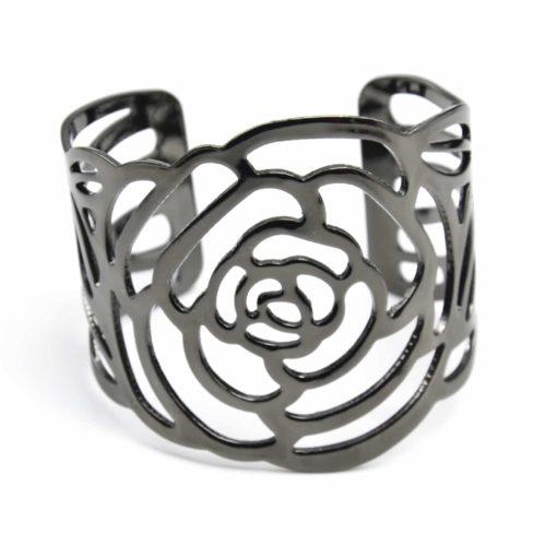 Bracelet-Manchette-Ouverte-Fleur-Ajouree-Metal-Gris