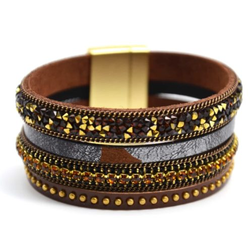 Bracelet-Manchette-Aimante-Multi-Rangs-Chaines-Strass-et-Clous-Brillants-Marron