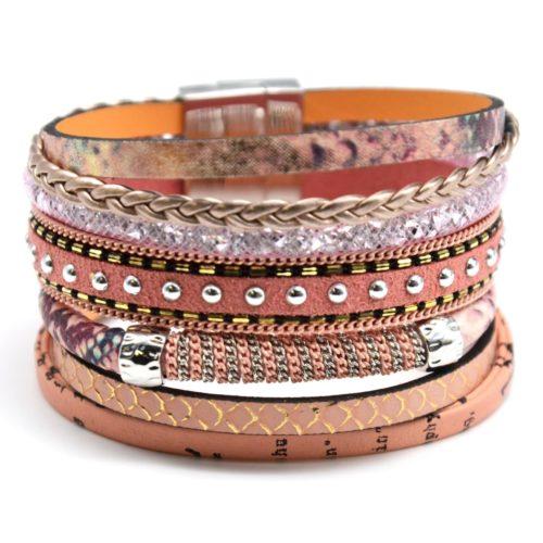 Bracelet-Manchette-Multi-Rangs-Ecailles-Tresse-Resille-Clous-et-Chaine-Rose