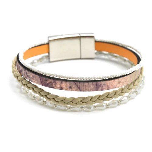 Bracelet-Manchette-Multi-Rangs-Simili-Cuir-Brillant-Tresse-et-Perles-Blanc
