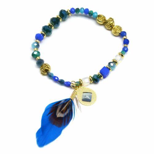 bc1382d bracelet triple tour mini perles brillantes multicolore avec plume ethnique noir oh. Black Bedroom Furniture Sets. Home Design Ideas