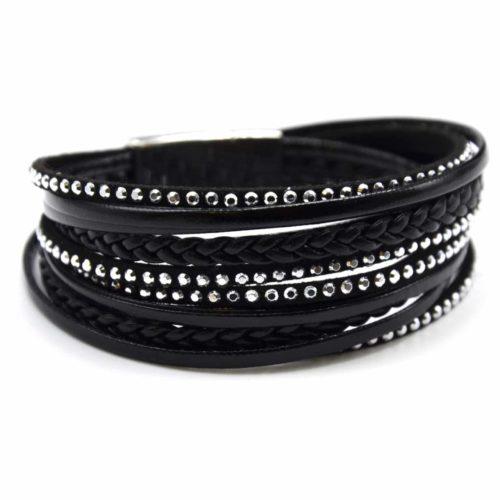 Bracelet-Double-Tour-Multi-Rangs-Simili-Cuir-Vernis-Clous-et-Tresse-Noir