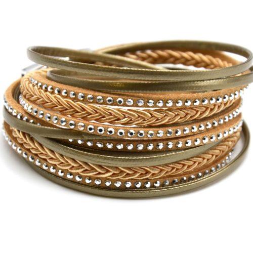 Bracelet-Double-Tour-Multi-Rangs-Simili-Cuir-Vernis-Clous-et-Tresse-Beige