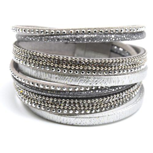 Bracelet-Double-Tour-Multi-Rangs-Brillants-Clous-Strass-et-Chaines-Gris
