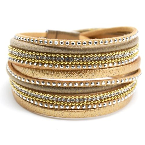Bracelet-Double-Tour-Multi-Rangs-Brillants-Clous-Strass-et-Chaines-Beige